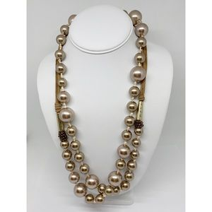 """Chico's Taupe Knotted Pearl Strand 55"""" Long"""